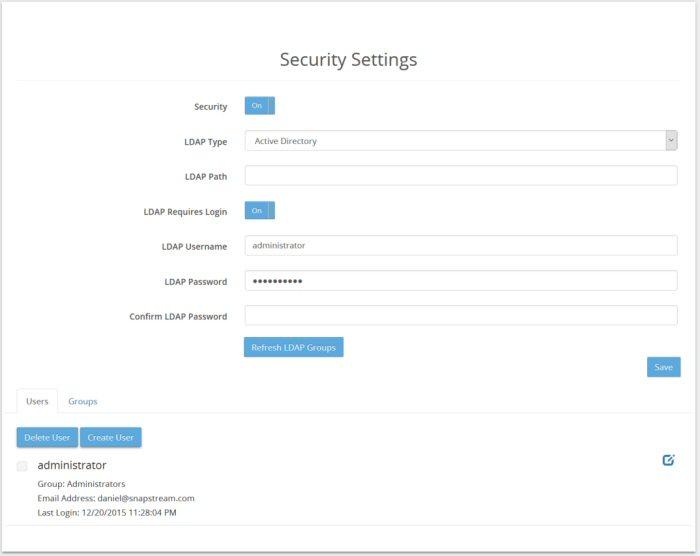 Users - SnapStream 7 1 Help